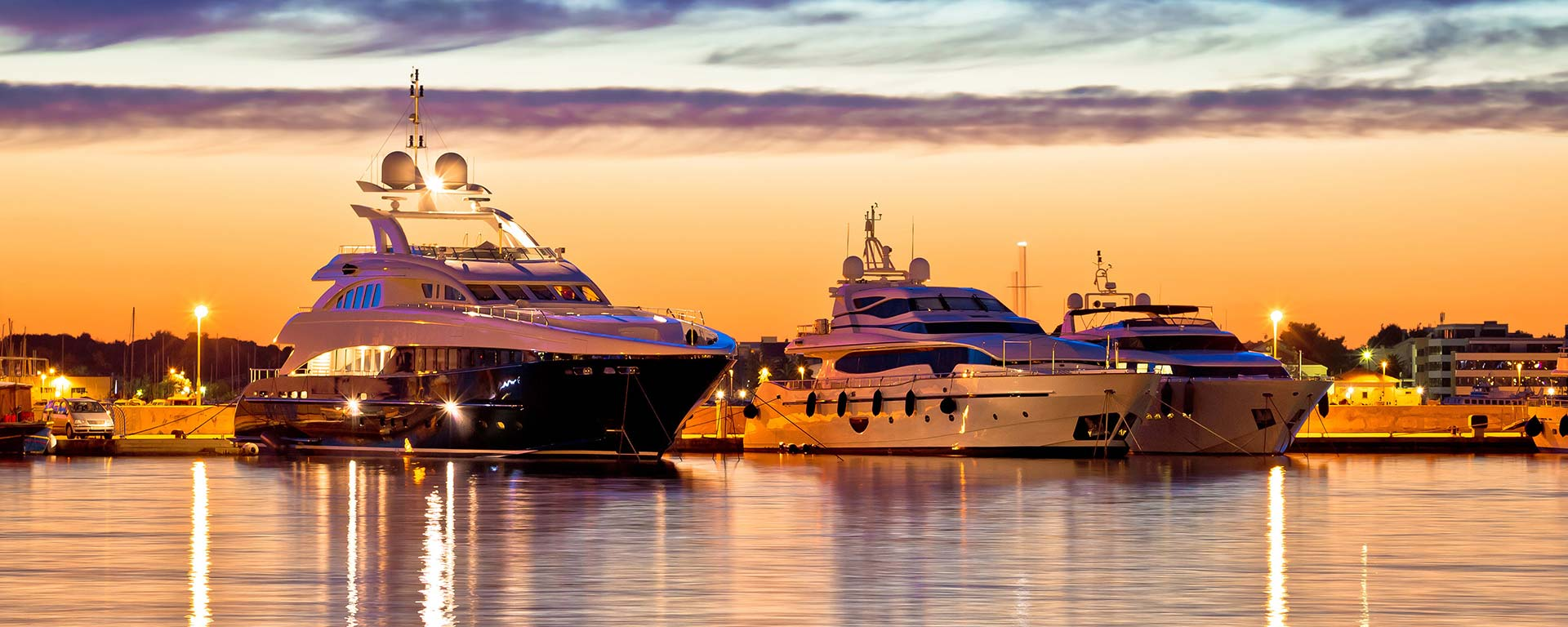 Luxury Yachts under the sunset