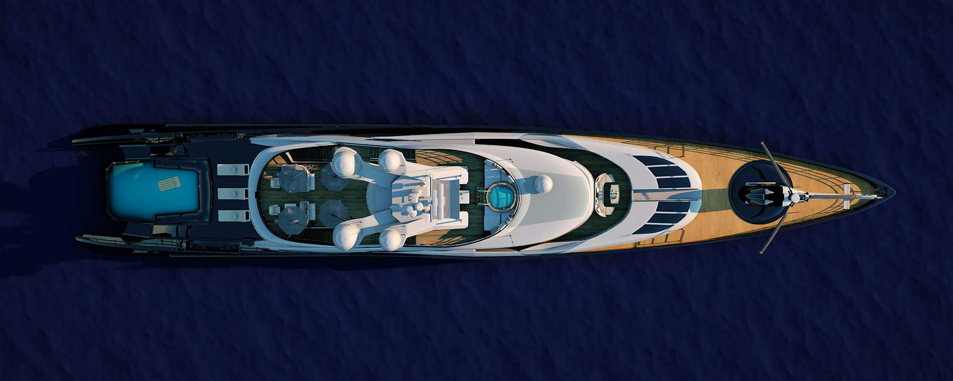 Luxury yacht aerial
